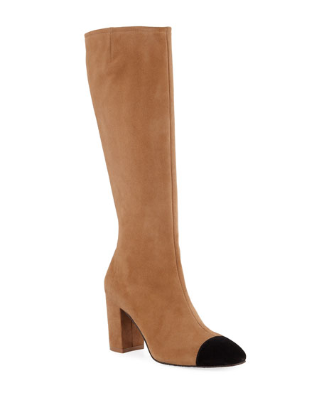 Stuart Weitzman Jacinda Two-Tone Suede Knee Boots