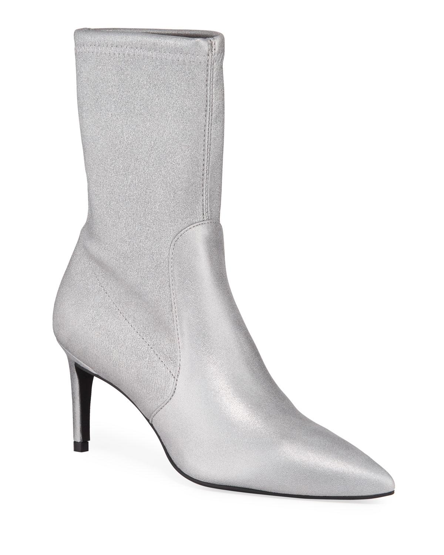 Wren Metallic Stretch-Suede Sock Booties