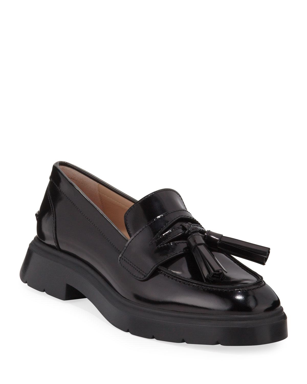 Plum Shiny Tassel Loafers