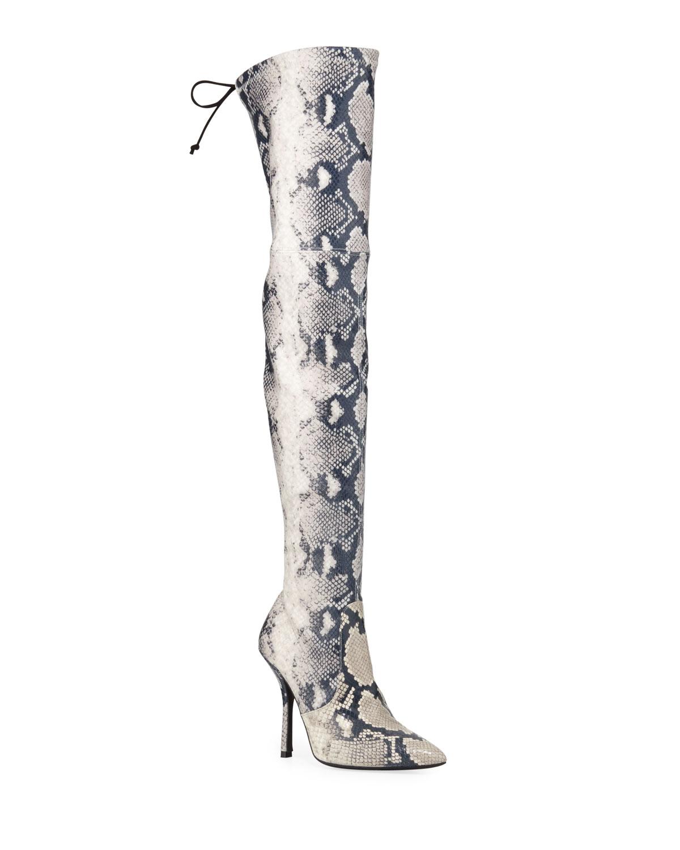 Arla Thigh-High Snake-Print Boots