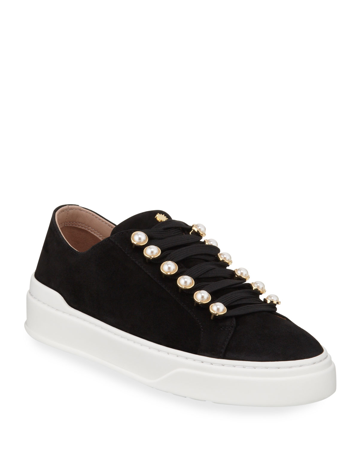 Excelsa Pearly-Detail Suede Low-Top Sneakers
