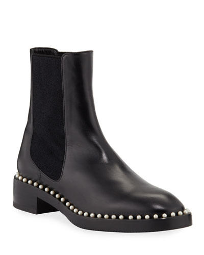 Cline Pearly Studded Leather Chelsea Booties