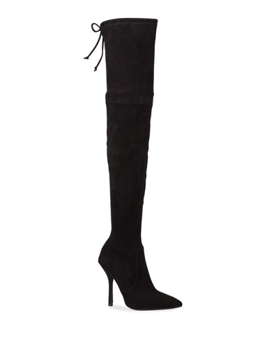 Arla Suede Pointed Toe Thigh High Boots