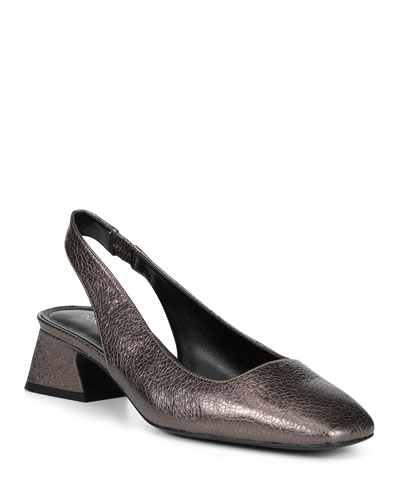 Breea Low-Heel Metallic Leather Slingback Pumps