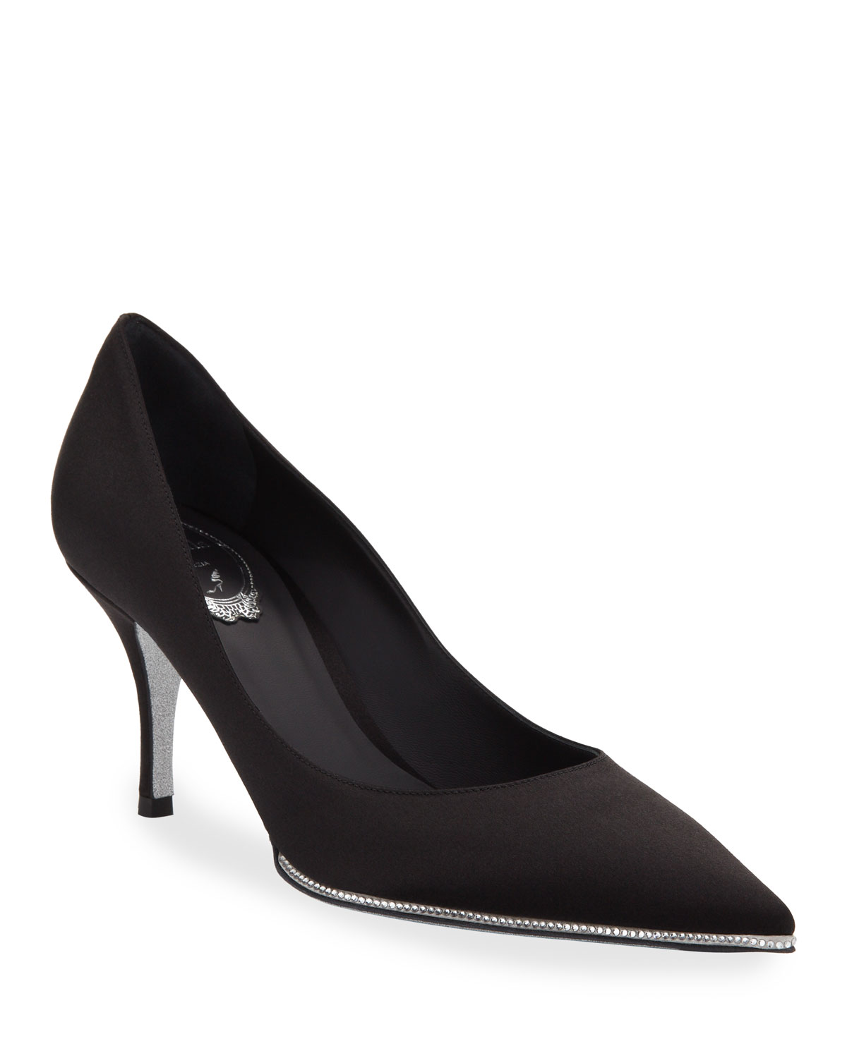Satin Pumps with Crystal Trim