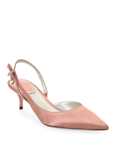 Satin Slingback Pumps with Crystal Bow