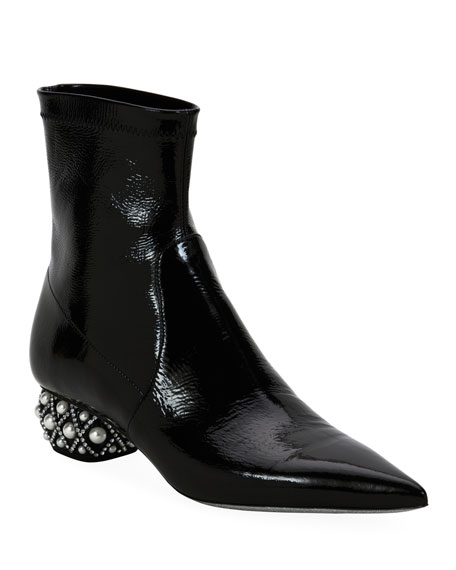 Rene Caovilla Patent Leather Booties with Pearly Heel