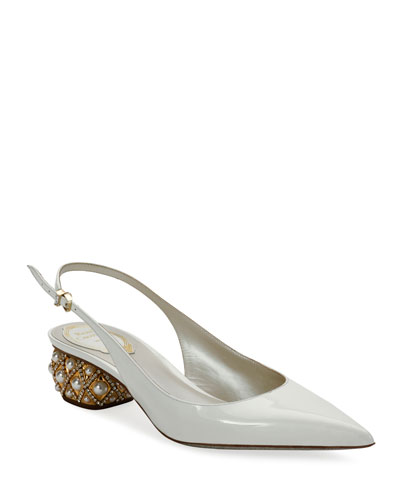 Slingback Pumps with Pearly Heel