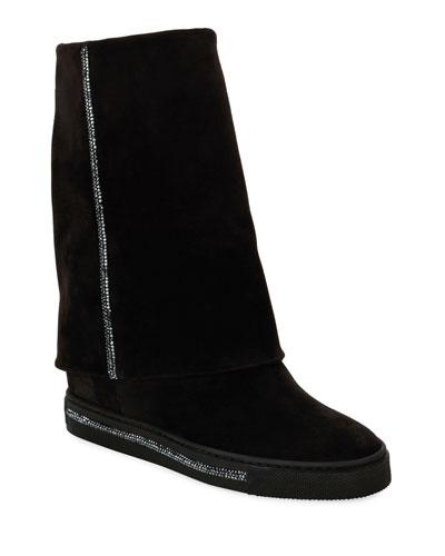 Crystal-Embellished Hidden Wedge Boots