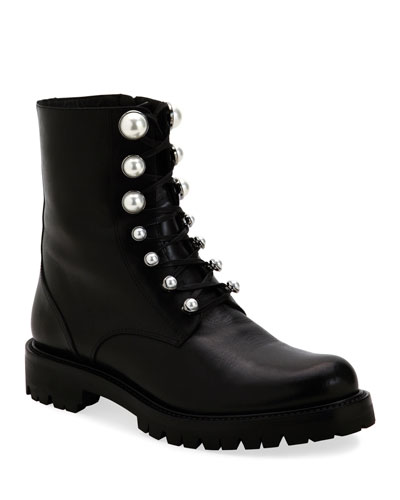 Combat Boots with Pearly Detail