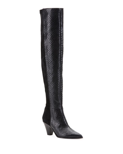 Anaconda-Print Leather & Suede Thigh-High Boots