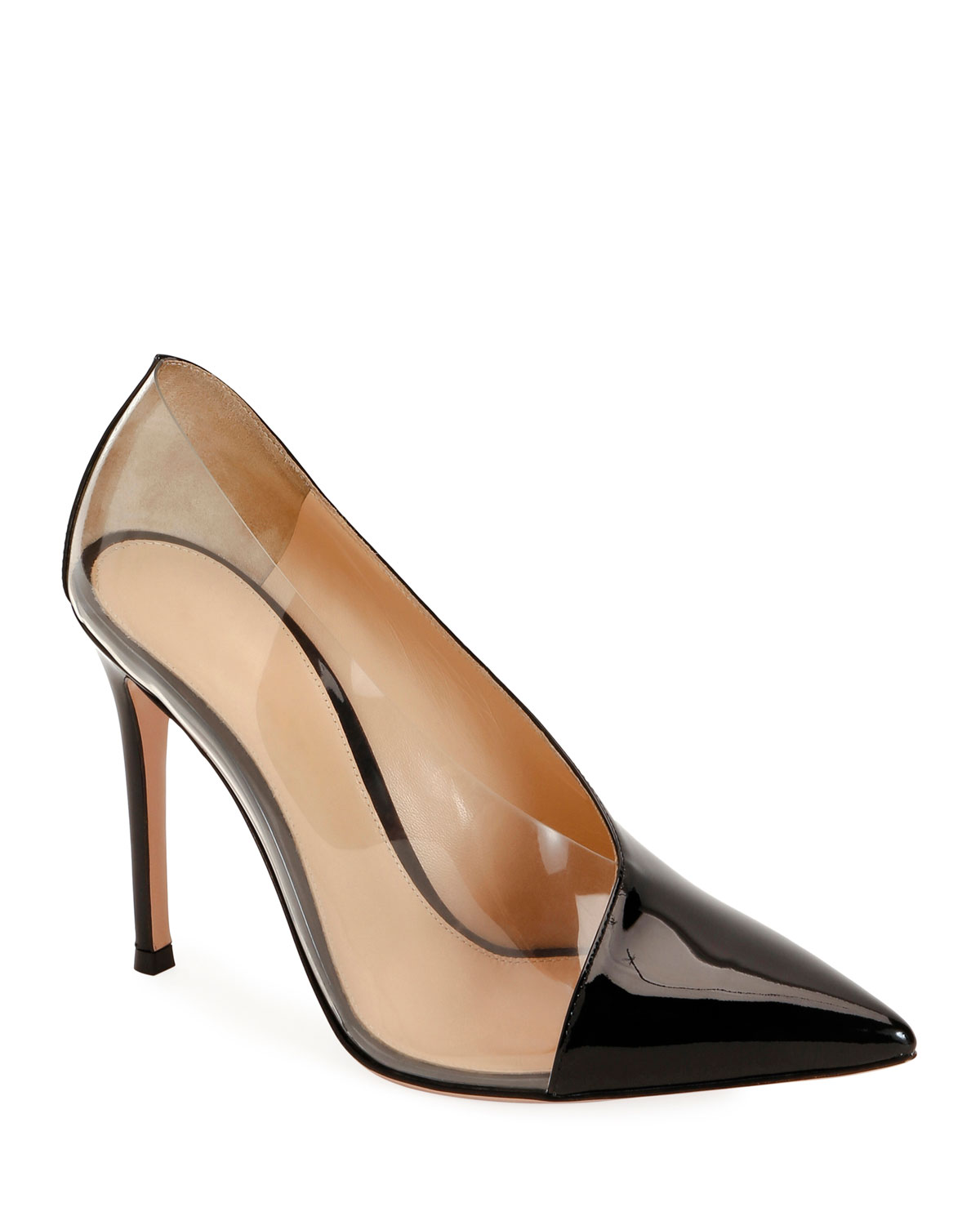 Plexi Patent Clear-Sided Pumps