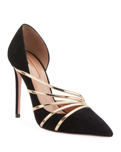 Minou Suede and Metallic Pumps