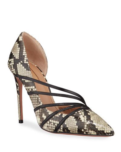 Minou Snakeskin and Leather Pumps