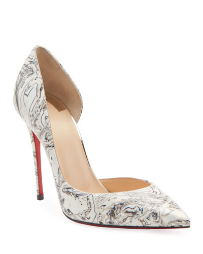 Iriza Marble Open-Side Red Sole Pumps
