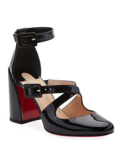 Ronnic Patent Leather Strappy Red Sole Pumps