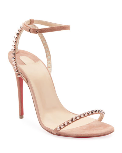 So Me Spike Red Sole Sandals, Nude