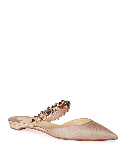 Planet Glitter Spike-Strap Red Sole Mules