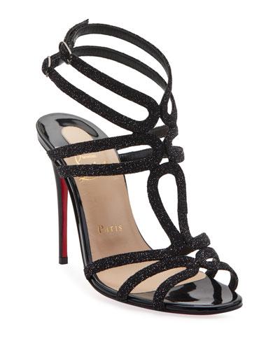 Renee Glitter Red Sole Sandals, Black