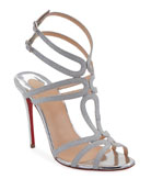 Christian Louboutin Renee Glitter Red Sole Sandals, Silver