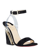 Christian Louboutin Levitallo Suede/Vinyl Red Sole Wedge Sandals