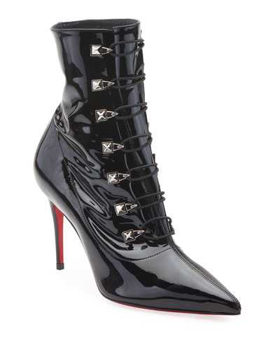 Frenchissima Patent Red Sole Booties