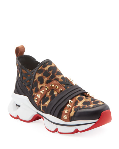 123 Run Leopard Red Sole Sneakers