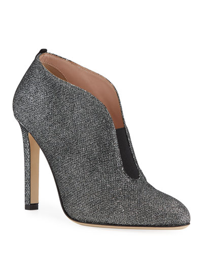 Trois Glitter Slip-On Booties