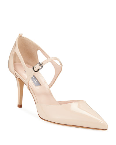 Phoebe Patent Pointed Pumps