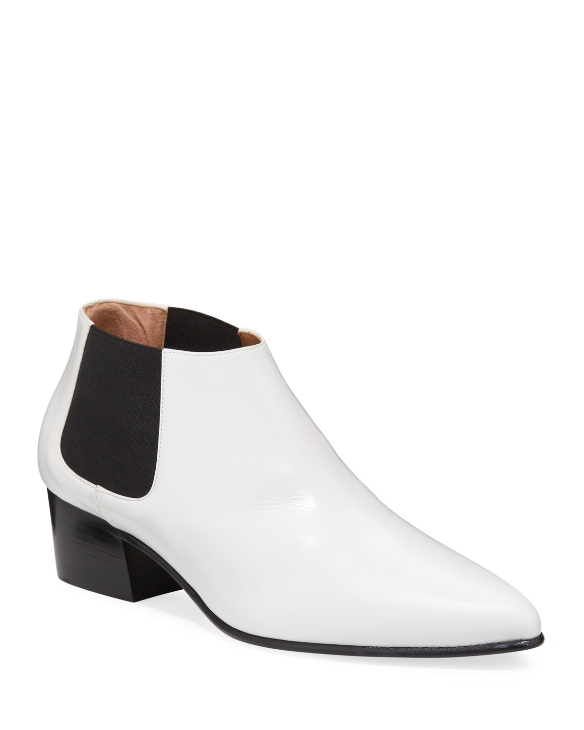 Valmy Two-Tone Leather Ankle Booties