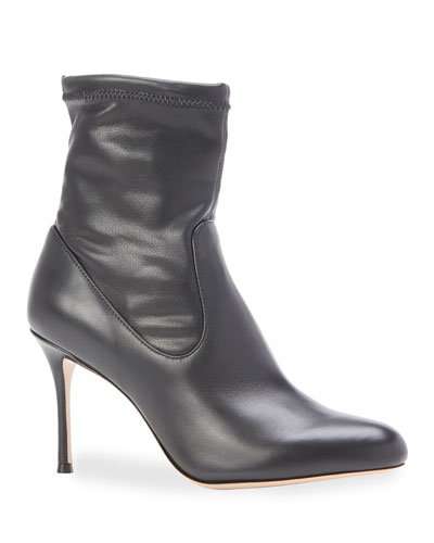 Drew Stretch Leather Stiletto Booties