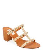 Valentino Garavani Rockstud Caged Woven Straw Slide Sandals