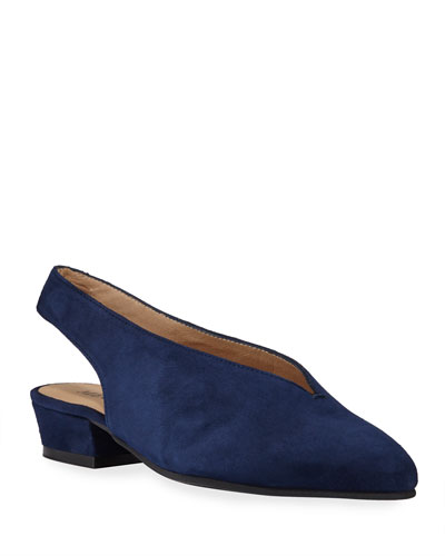 Alexis Low-Heel Slingback Pumps, Navy
