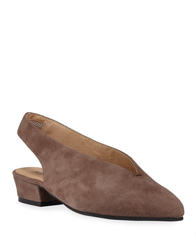 Alexis Low-Heel Slingback Pumps, Gray/Brown