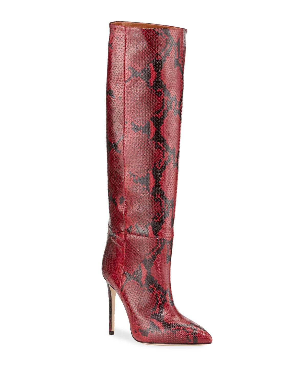 Python-Print Stiletto Knee Boots