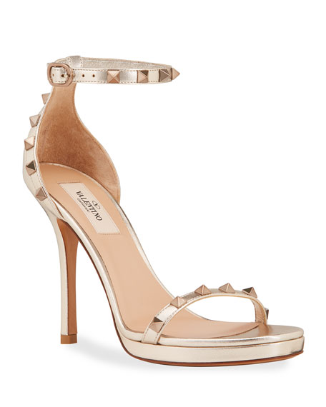 Valentino Garavani Rockstud Metallic Leather Platform Stiletto Sandals
