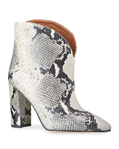 90mm Python-Print Leather Booties