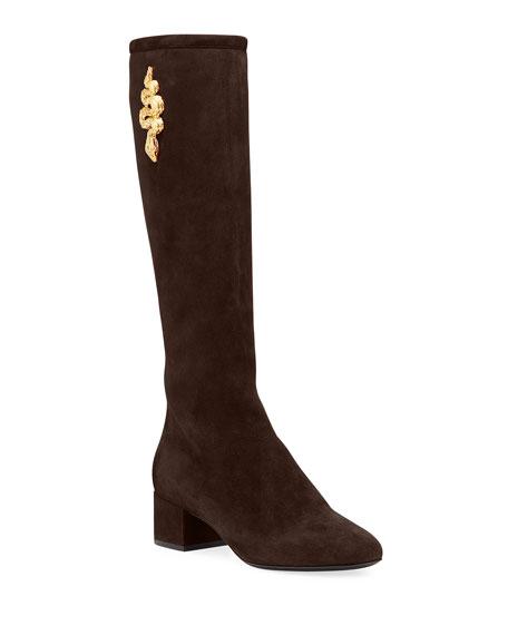 Valentino Garavani Maison Snake Knee Boots