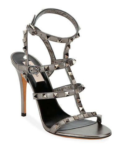 Rockstud Metallic Leather T-Strap 105mm Sandals