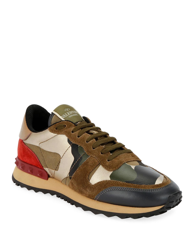 Valentino Garavani Rockrunner Camo Flat Sneakers In Green