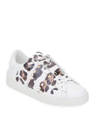Leopard-Print Rockstud Sneakers