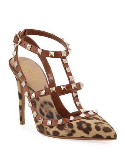 Leopard-Print Rockstud Ankle-Strap Pumps