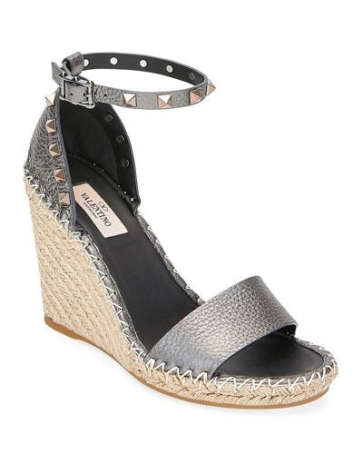 Rockstud Metallic Leather Wedge Sandals