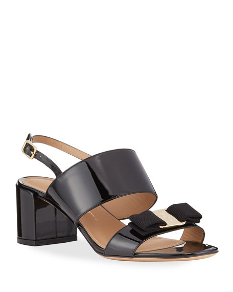 Salvatore Ferragamo Giulia Patent Leather Vara Bow Sandals