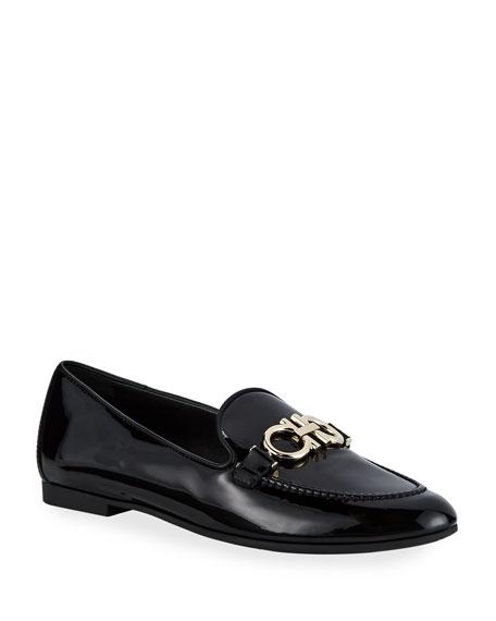 Salvatore Ferragamo Trifoglio Patent Gancini Horsebit Loafers