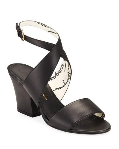 Sheena Chunky-Heel Leather Sandals