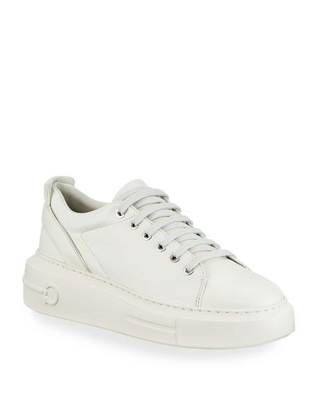 Salvatore Ferragamo Senise Leather Sneakers with Gancio Heel
