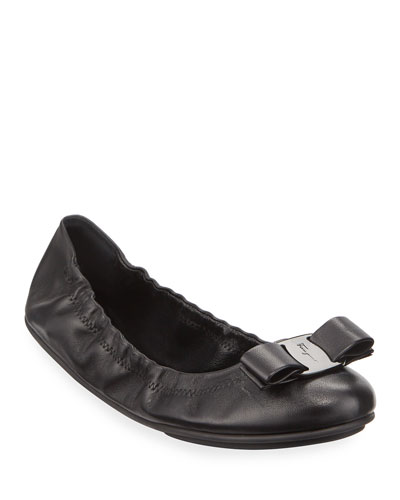 Lizink Leather Vara Bow Ballet Flats