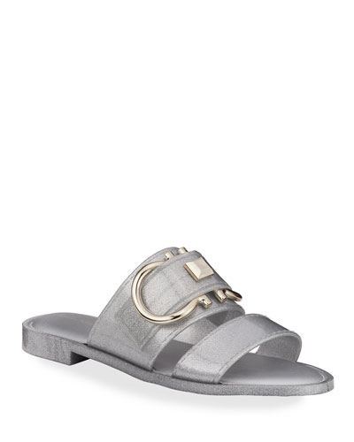 Taryn Metallic Jelly Logo Slide Sandals