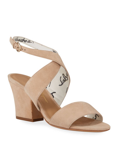 Sheena Chunky-Heel Suede Sandals